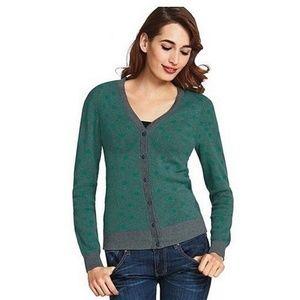 CAbi 903 Small Cardigan Sweater Green Gray Polka